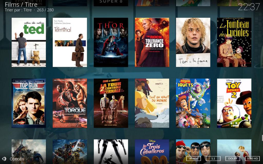 Affichage des pochettes de films