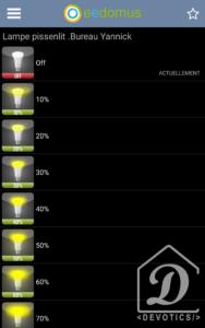 Application mobile eedomus : Actions d'un équipement