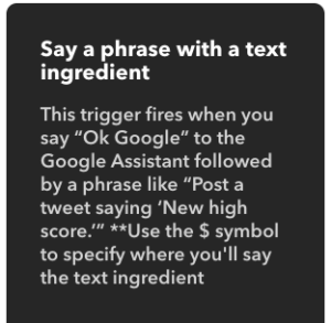 trigger say a phrase with text ingredient