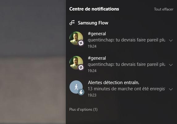 Notification Samsung Flow