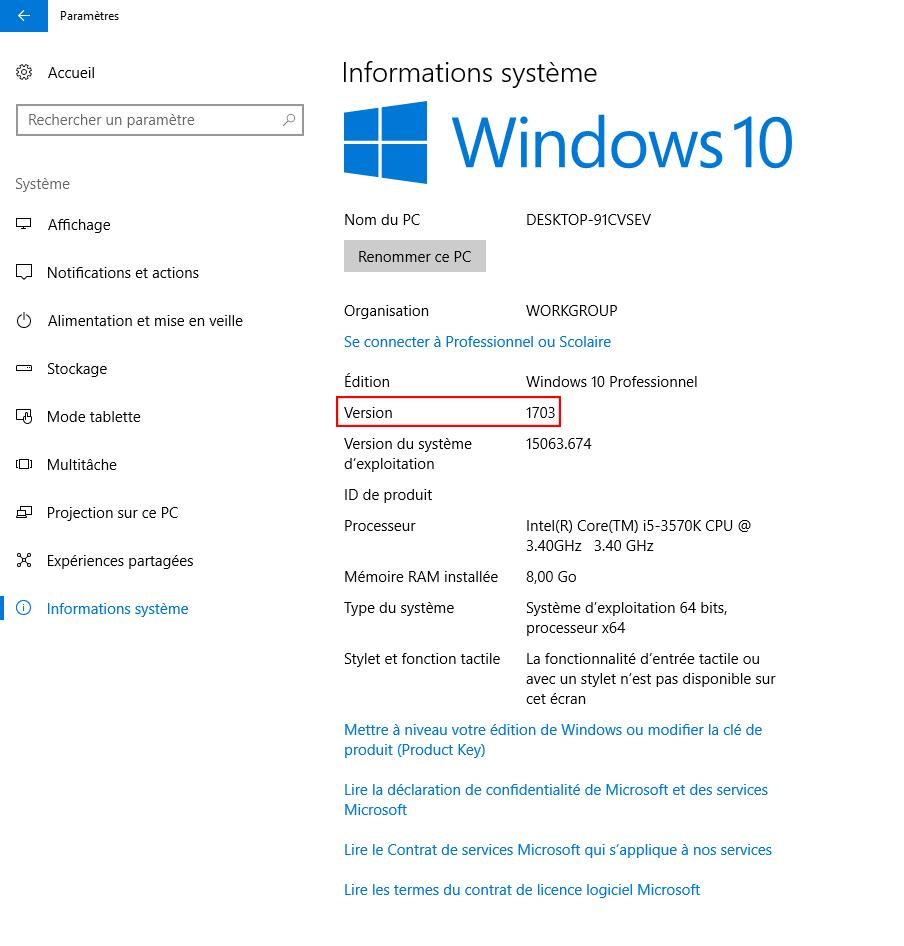 Version de windows