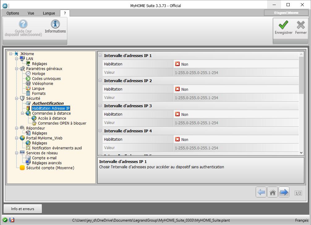 Configuration des exceptions IP