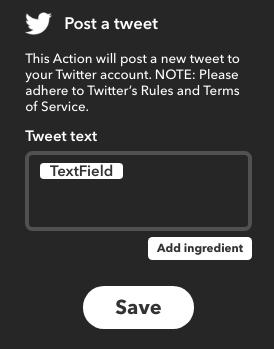 IFTTT: Postez un tweet