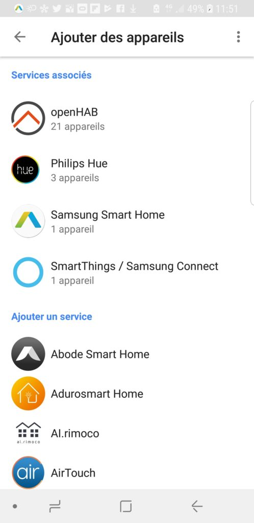 Configuration de openHAB dans l'application Google Home