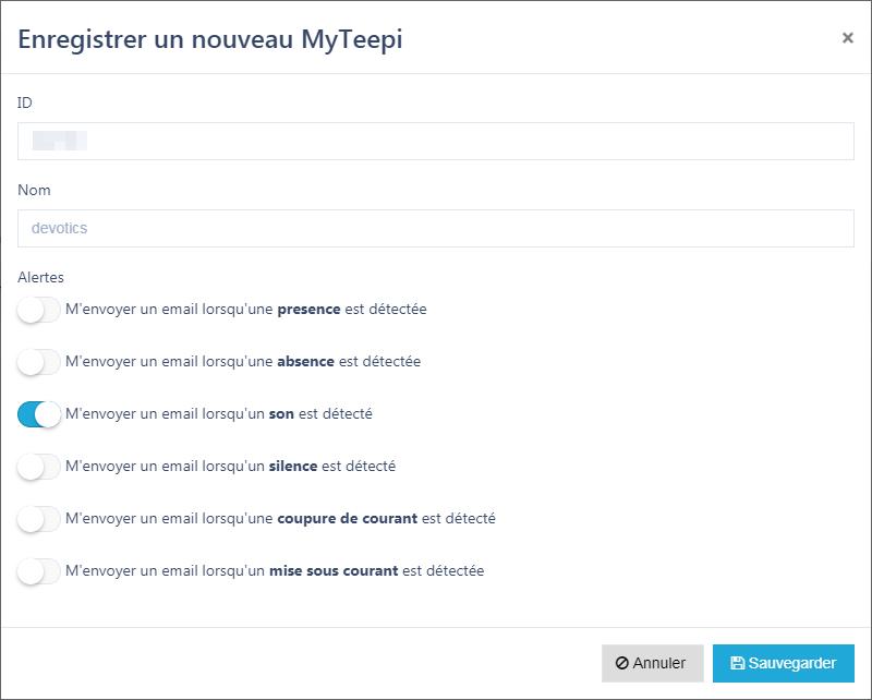 Enregistrement et configuration MyTeepi