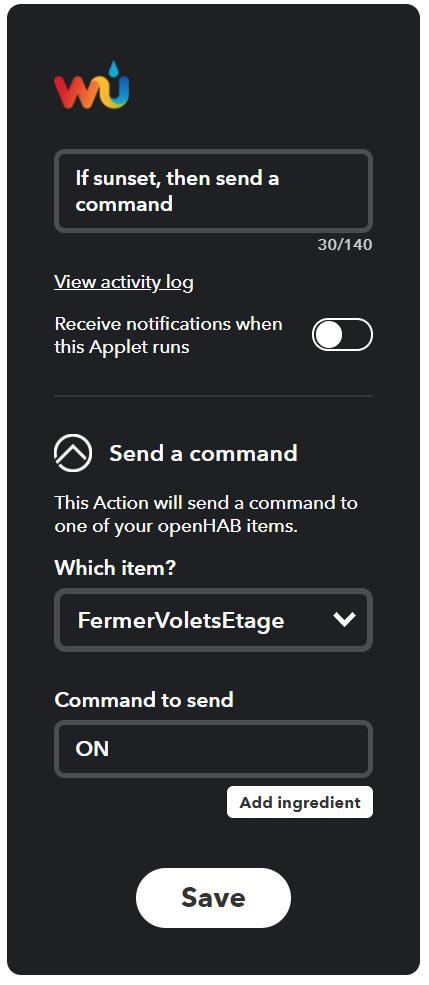 IFTTT - Configuration de l'applet