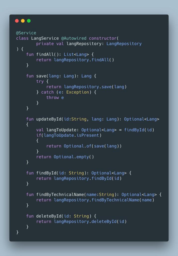 Exemple service langue - voir le code sur git