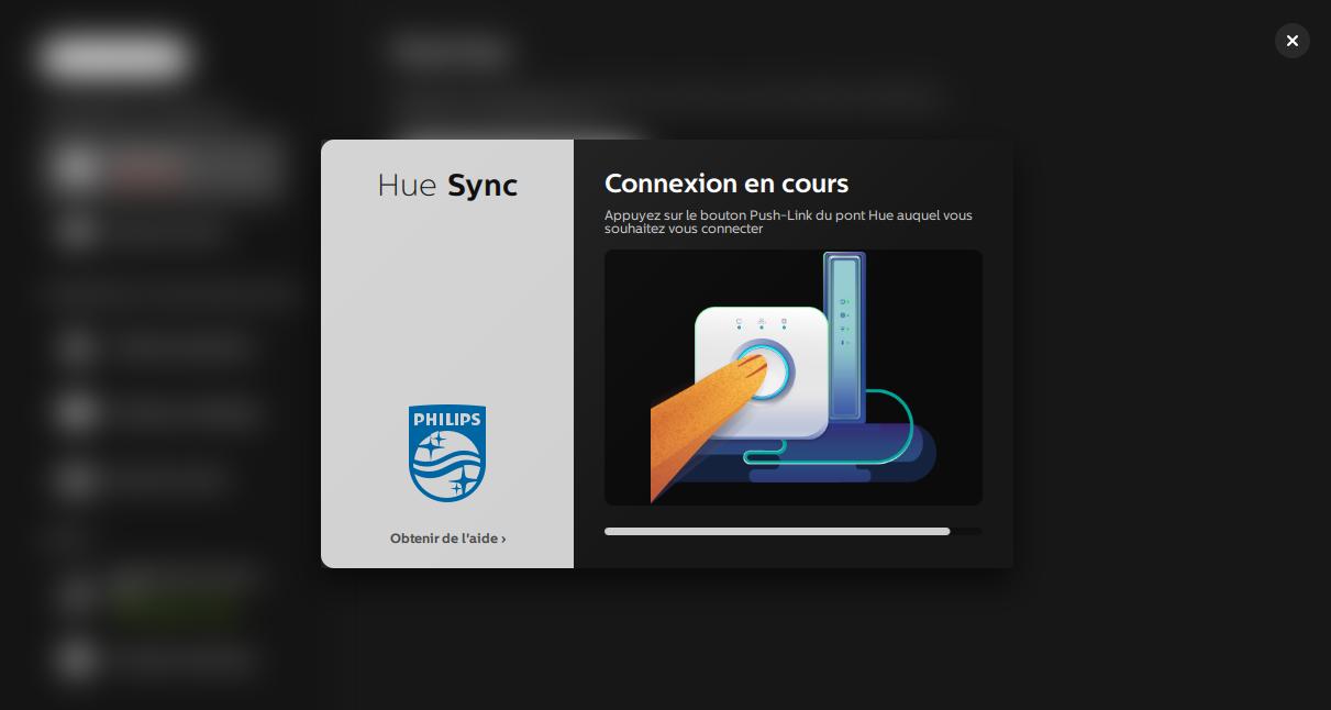 Connexion de l'application Hue Sync au pont Hue