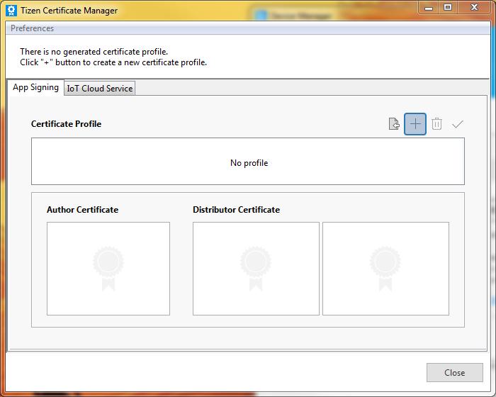 Bouton d'ajout de certificat