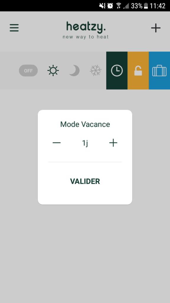 Configuration du mode vacance