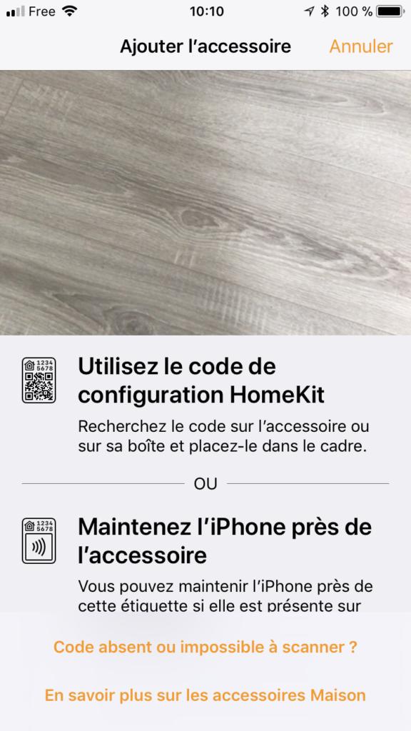 Ajout de l'accessoire openHAB dans HomeKit - code absent