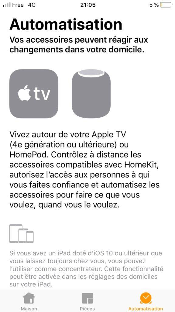 Automatisations dans l'application Maison dans iOS